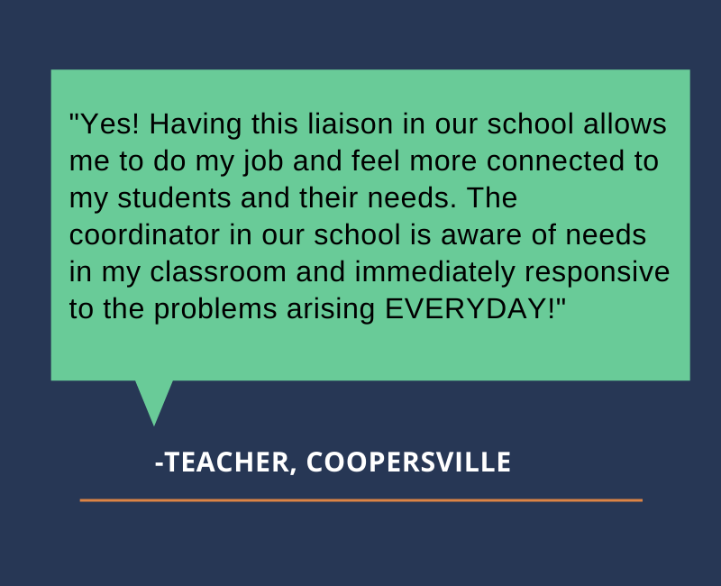 """Yes! Having this liaison in our school allows me to do my job and feel more connected to my students and their needs. The coordinator in our school is aware of needs in my classroom and immediately responsive to the problems arising EVERYDAY!"""