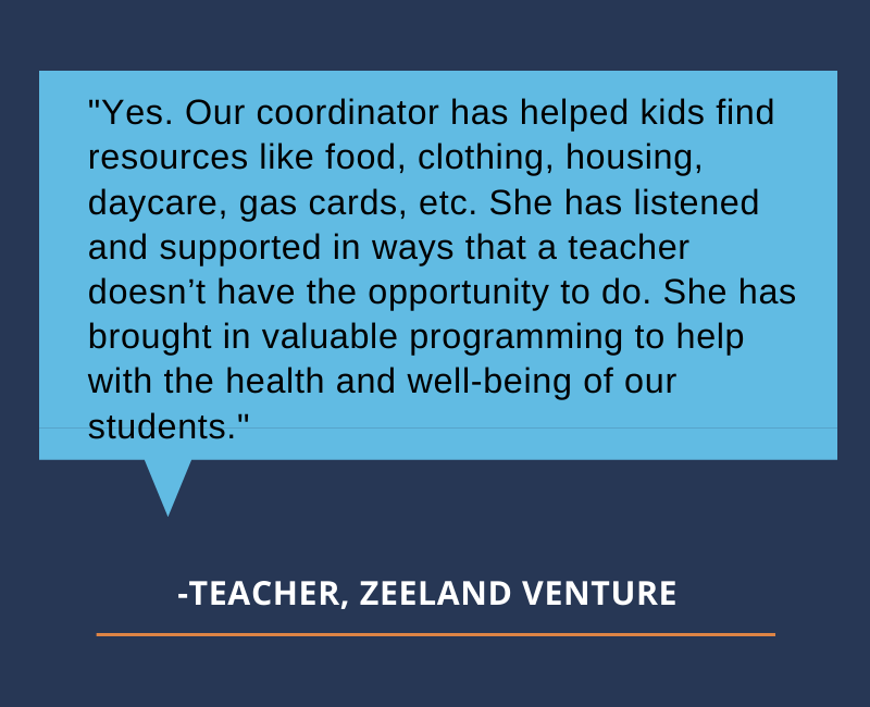 """Yes. Our coordinator has helped kids find resources like food, clothing, housing, daycare, gas cards, etc. She has listened and supported in ways that a teacher doesn't have the opportunity to do. She has brought in valuable programming to help with the health and well-being of our students."""