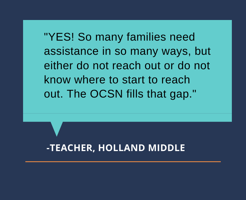 YES! So many families need assistance in so many ways, but either do not reach out or do not know where to start to reach out. The OCSN fills that gap.