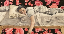 art from student winner, painting of girl lying on bed
