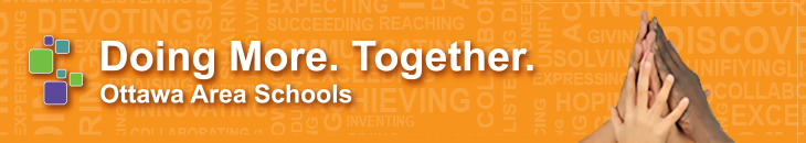 Doing More. Together. Ottawa Area Schools logo and picutre of hands together