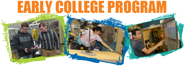 Early College Program, students working with robots and cnc