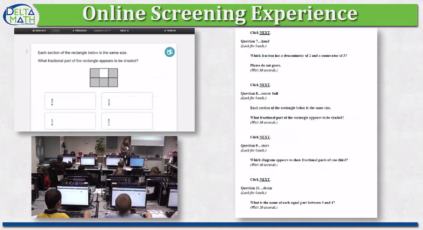 Link to a video that highlights a 4th grade screening session for the Delta Math Response to Intervention Program.