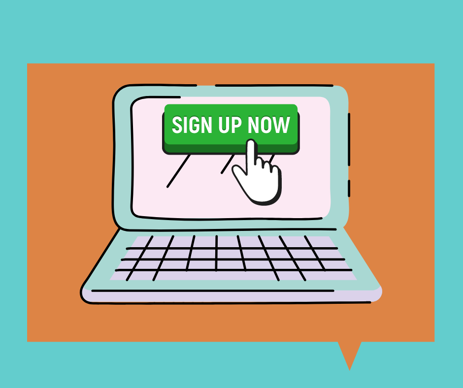 sign up now button and cursor on laptop screen
