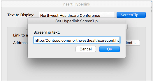 Hyperlink Dialog Box for Mac