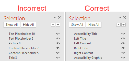 PowerPoint Selection Pane Incorrect versus Correct Reading Order