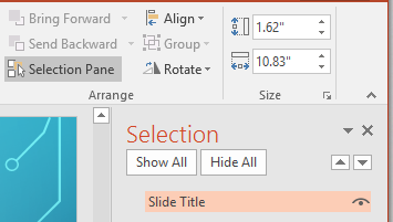 Microsoft PowerPoint Selection Pane Windows Screenshot