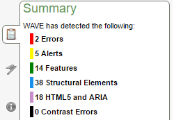 WAVE Summary Screenshot